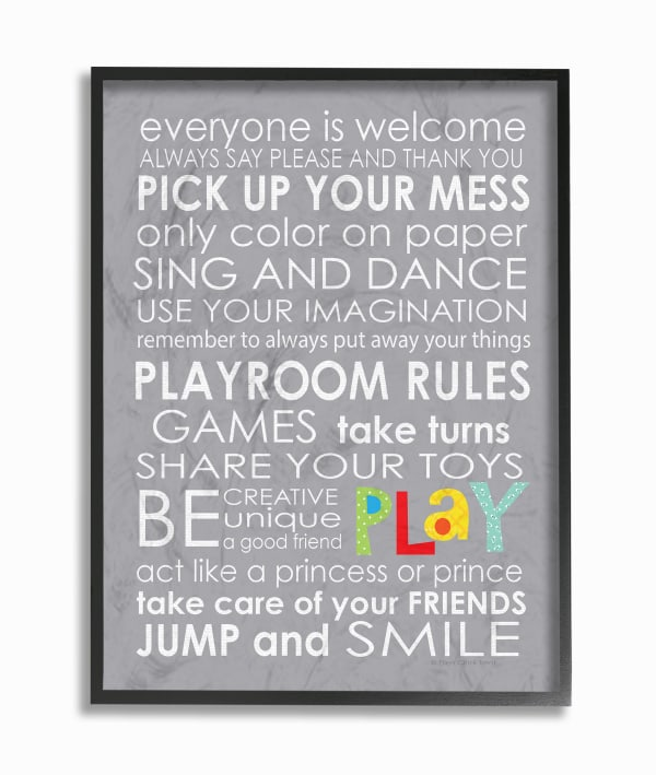 Playroom Rules Framed Giclée Wall Art