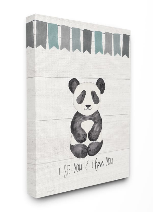 Grayscale Party Panda Wall Art