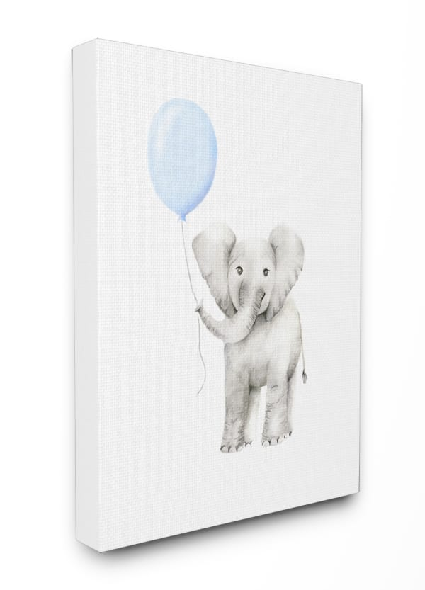 Watercolor Blue Party Elephant Wall Art