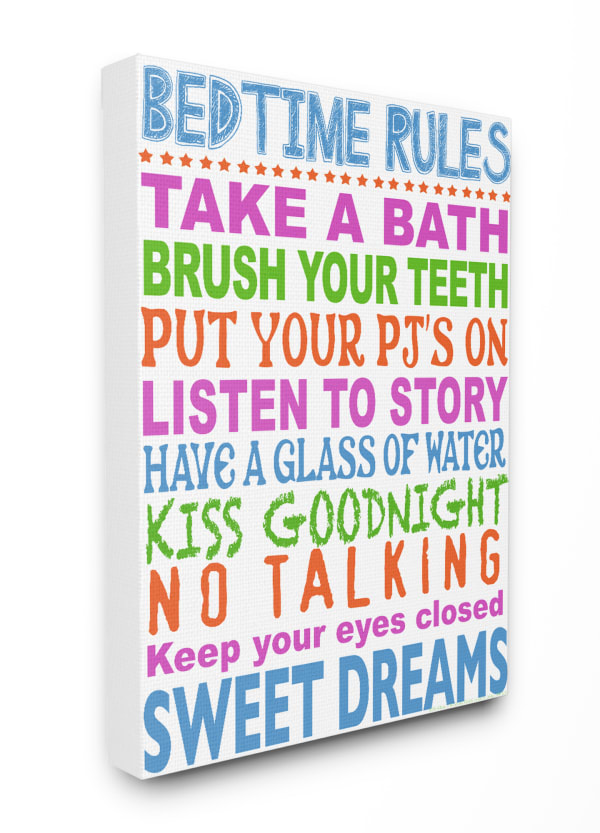 Rules for Sleepytime Typography Wall Art