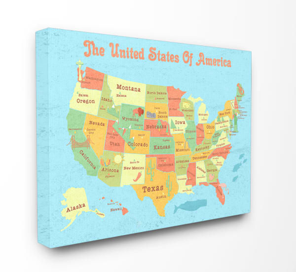 Kids United States Map Wall Art