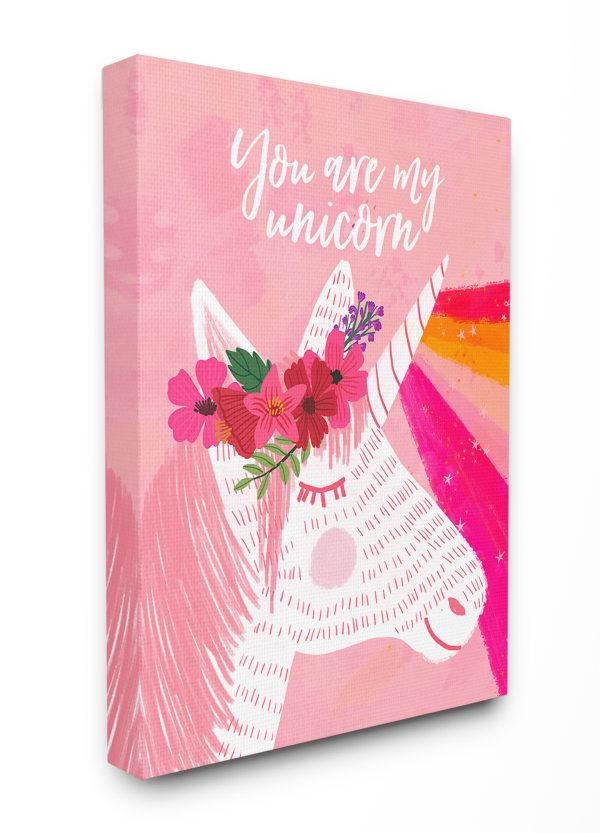 Pink Unicorn Love Wall Art