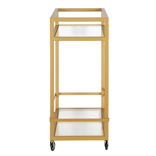 Wilson Brass Finish Bar Cart with Clear Glass Shelves