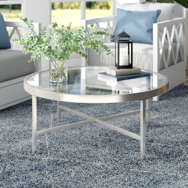 Xivil Satin Nickel Round Coffee Table