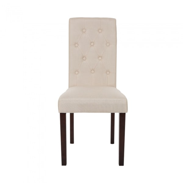 Fabric Dining Chairs With Tufted Back Cream White, Set Of 2
