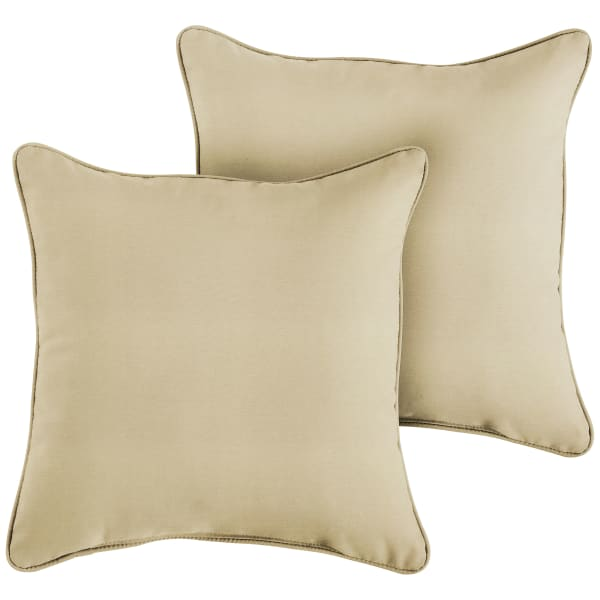 Sunbrella Corded Set of 2 in Canvas Antique Beige Outdoor Pillows