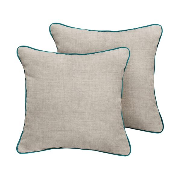 Sunbrella Corded in Cast Silver with Spectrum Peacock Outdoor Pillows Set of 2
