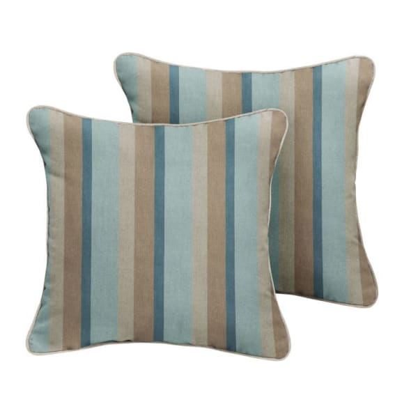 Sunbrella Corded in Gateway Mist Stripe with Cast Silver Outdoor Pillows Set of 2