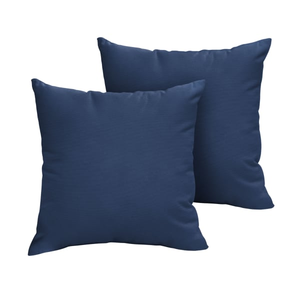 Sunbrella Knife Edge in Canvas Navy Outdoor Pillows Set of 2