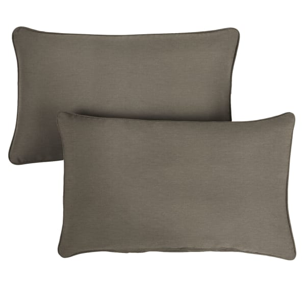 Sunbrella Oversized Corded in Canvas Taupe Outdoor Pillows Set of 2