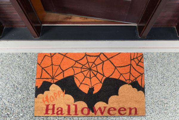 J&M Halloween Bats Spider Web Vinyl Back Doormat 18x30
