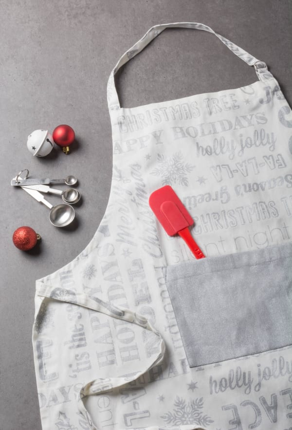 Silver Christmas Collage Chef Baking Set