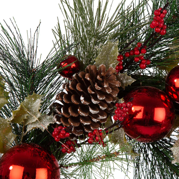 LED Pre-Lit Greenery Berry Holly Pine Cone Red Ornament Wreath