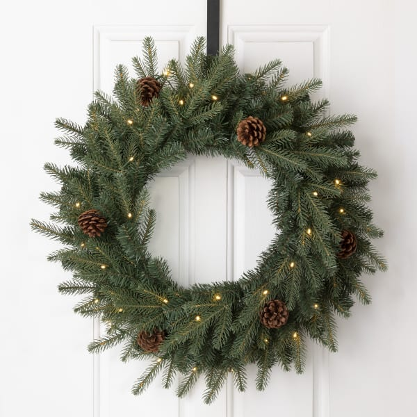 Pre-Lit Greenery Pine Cone Christmas Wreath with Warm White LED Light and Red Canvas Storage Bag