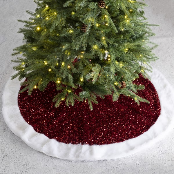 Red Sequin Christmas Tree Skirt
