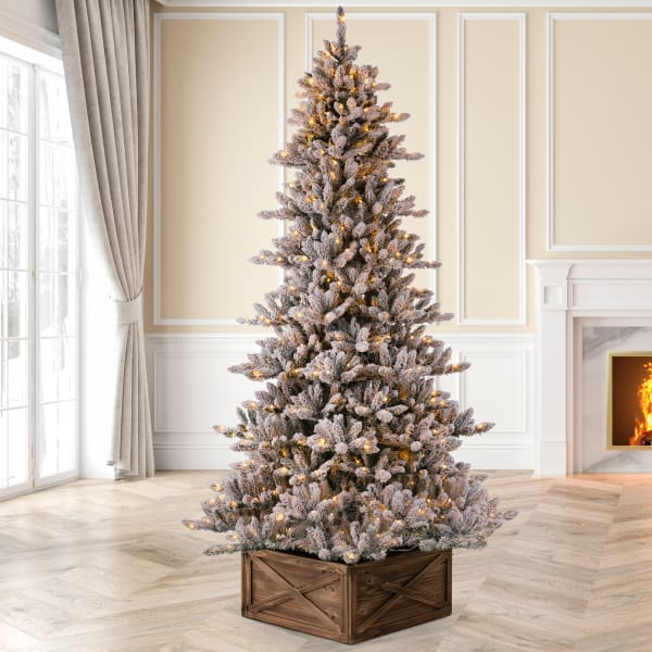 Pre-Lit Snow Flocked Fir Artificial Christmas Tree with 650 Warm White Lights