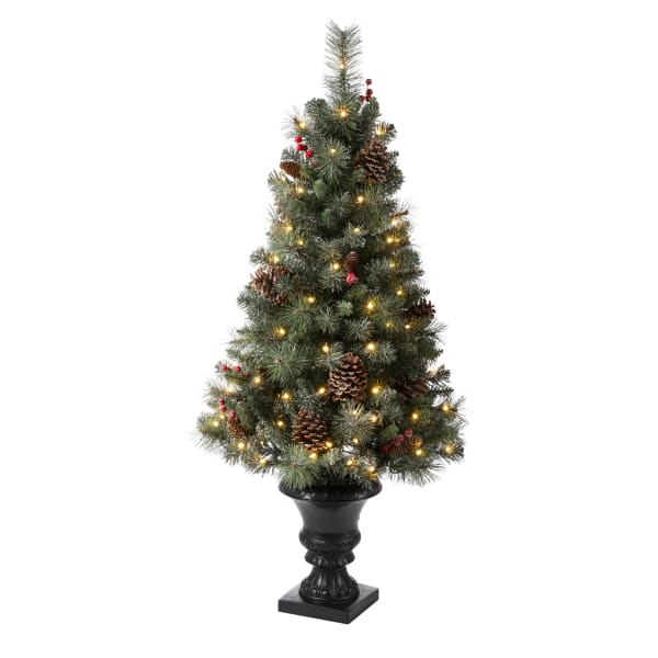 Set of 2 Flocked Christmas Tree With 100 Warm White Light, Pinecone and Berries