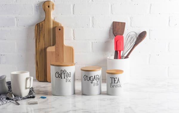 White Coffee/Sugar/Tea Ceramic Canister (Set of 3)