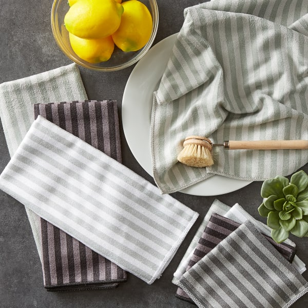Assorted Gray Stripe Microfiber Dishtowel & Dishcloth (Set of 8)