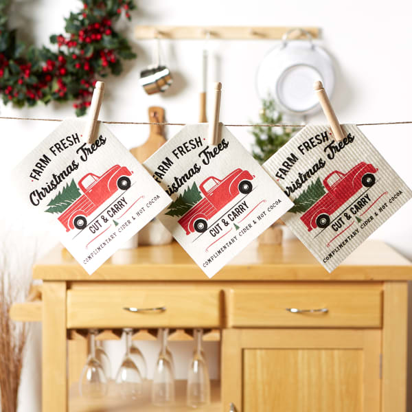 Christmas Truck Swedish Dishcloth Set/3