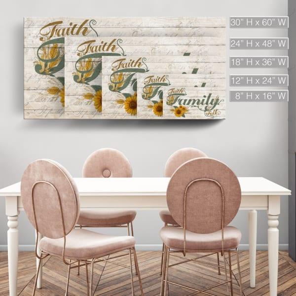 Faith-Family-Fall Green Canvas Wall Art