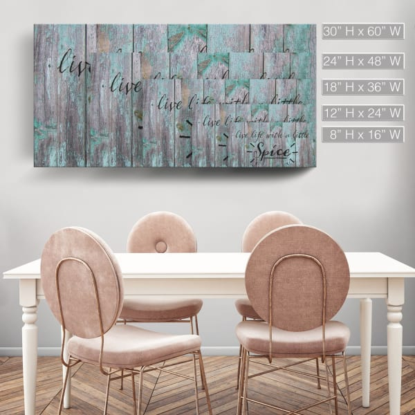 Live with Spice Gray Canvas Wall Art