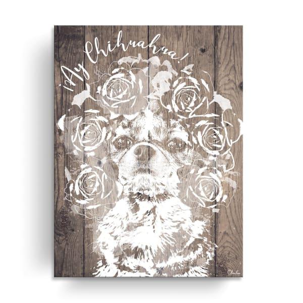 Flower Crown Pup Brown Canvas Pet Wall Art