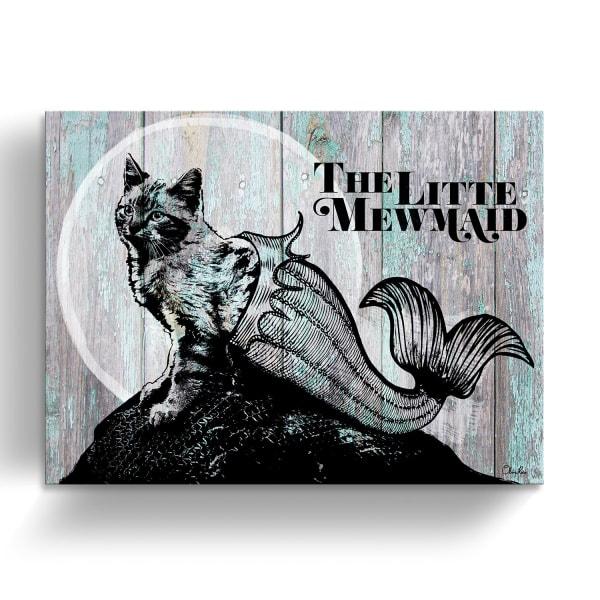 Kitty Mermaid Turquoise Canvas Pet Wall Art