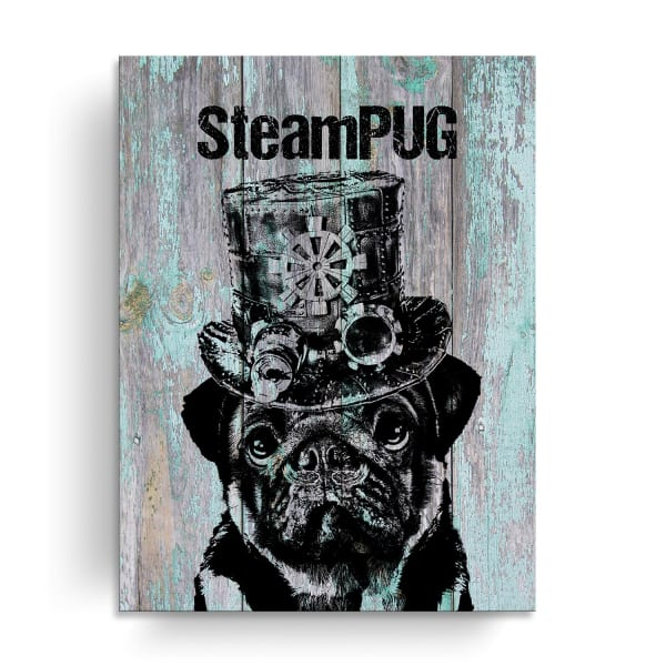 Steampunk Pup Turquoise Canvas Pet Wall Art