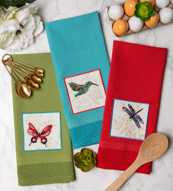 Assorted Botanical Embellished Dishtowel (Set of 3)