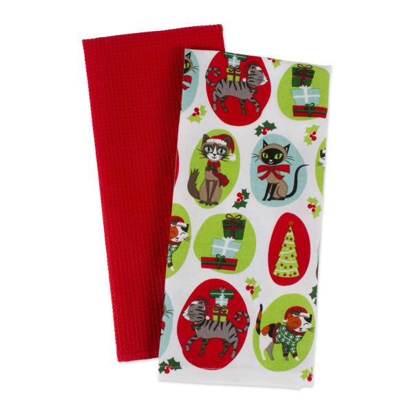 Assorted Christmas Kitty Dishtowel (Set of 2)