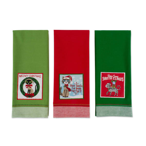 Assorted Christmas Kitty Embellished Dishtowel (Set of 3)