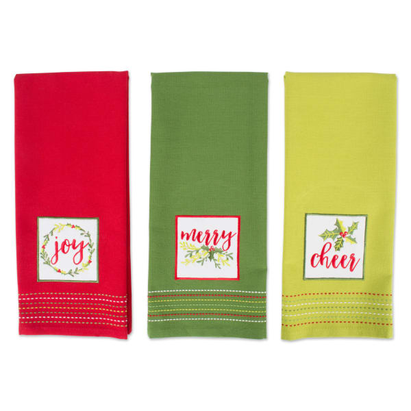 Assorted Holiday Greetings Embellished Dishtowel (Set of 3)
