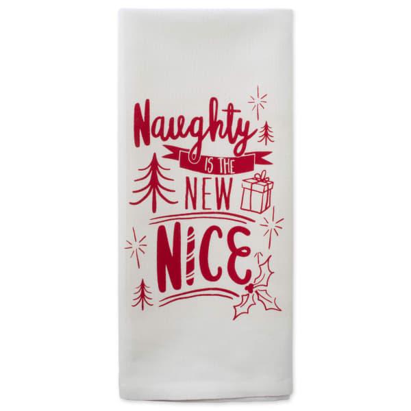 Assorted Naughty Nice Holiday Printed Dishtowel (Set of 2)