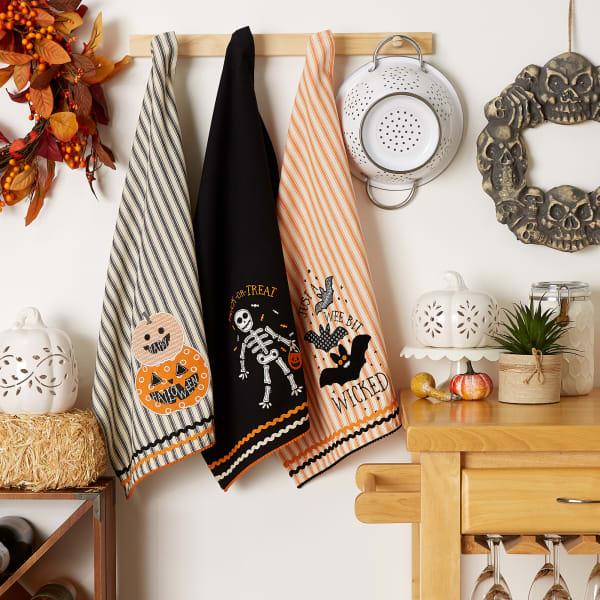 Halloween Happy Haunting Wicked Treats, Embellished Dishtowels Set of 3