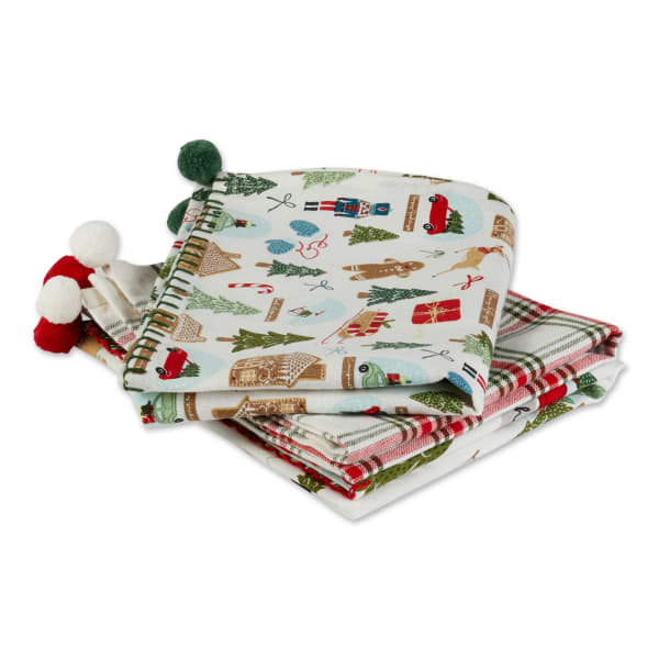 Kitchen & Tabletop Jolly Tree Collection Dishtowel Set, Assorted, S/3