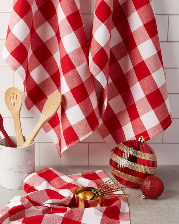 Red & White Buffalo Check Dishtowel (Set of 3)