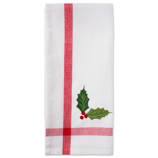 Red/White Stripe Holly & Mistletoe Holiday Embroidered Dishtowel (Set of 2)