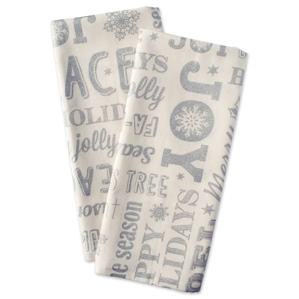 Silver Christmas Collage Dishtowel (Set of 2)