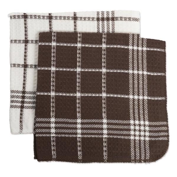 J&M Mocha Waffle Weave Dishcloth  (Set of 12)