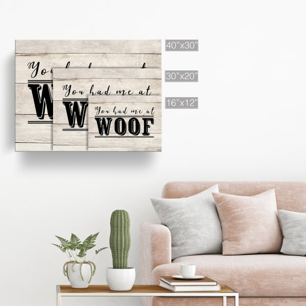 You had me at Woof Beige Canvas Pet Wall Art