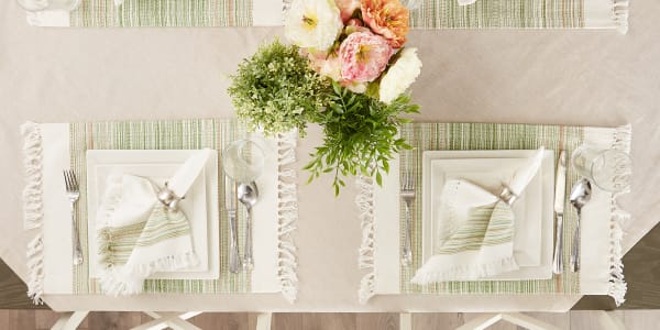 Fringed Stripe Tabletoppers, 13x20