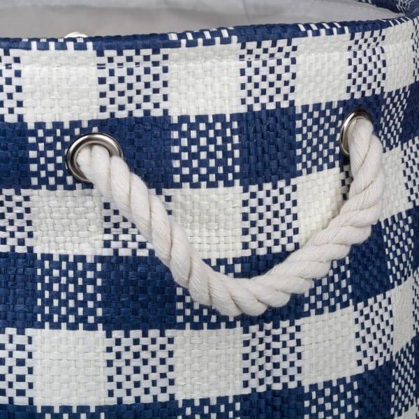 Paper Bin Checkers Navy Round Large 20x15x15