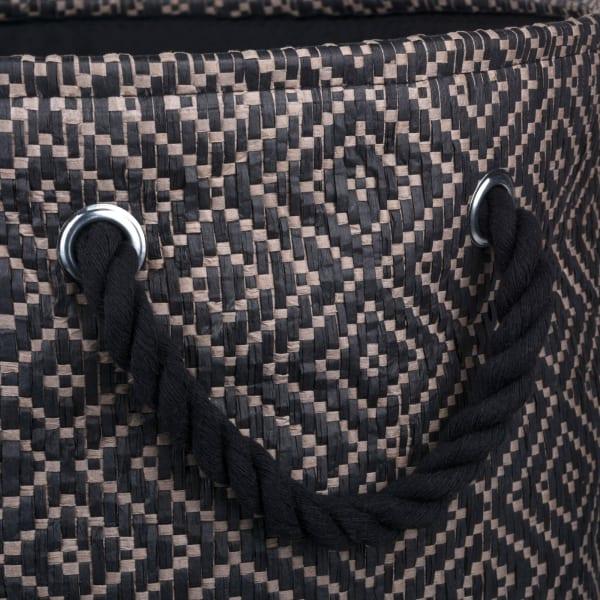 Paper Bin Diamond Basketweave Stone/Black Round Medium 13.75x13.75x17