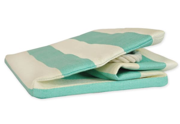 Paper Bin Stripe Aqua Rectangle Small 11x10x9
