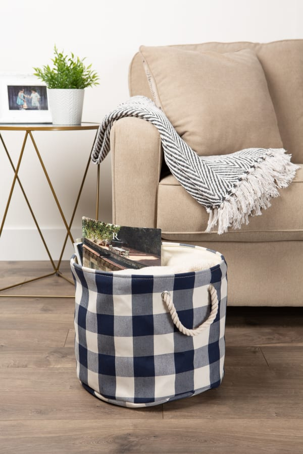 Polyester Bin Buffalo Check Off White/Navy Round Large