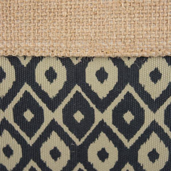Burlap Bin Ikat Black Rectangle Large 17.5x12x15