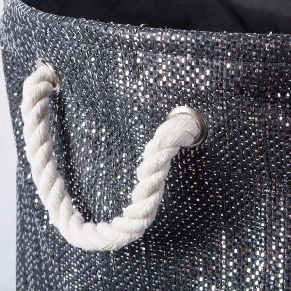 Paper Bin Lurex Black/Silver Round Medium 13.75x13.75x17