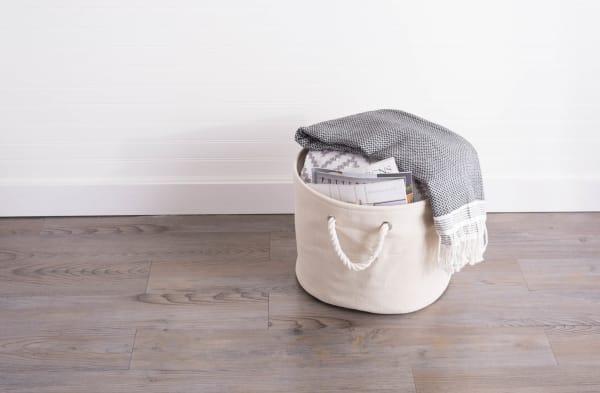 Polyester Bin Variegated Cream Round Large 15x16x16