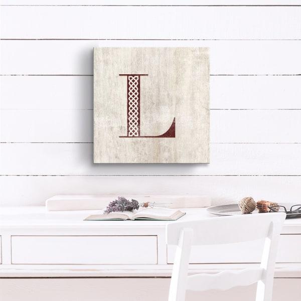Vintage Inspired Monogram Tan Canvas Wall Art - Letter L